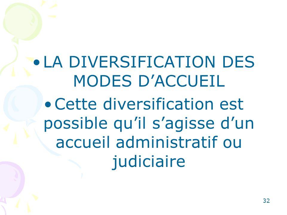 LA DIVERSIFICATION DES MODES D'ACCUEIL