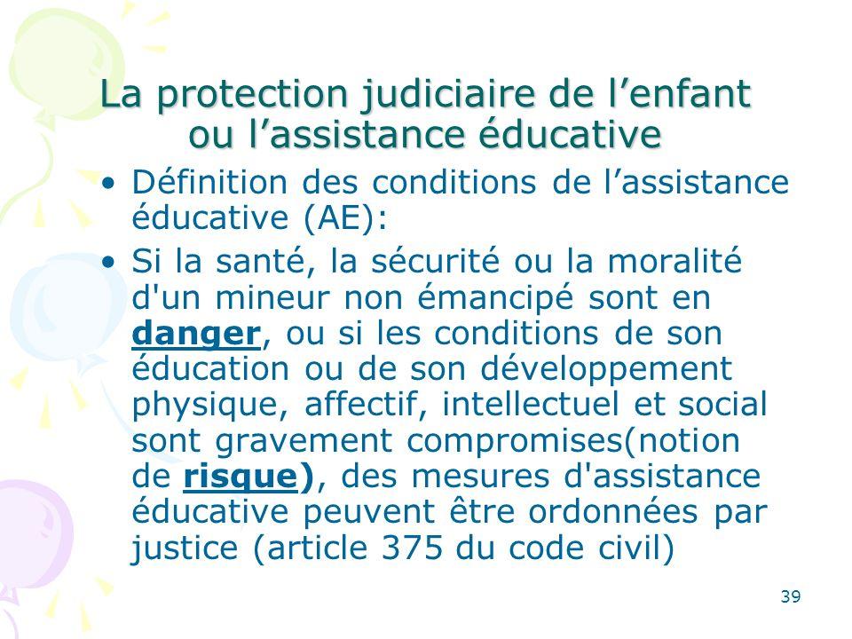 La protection judiciaire de l'enfant ou l'assistance éducative