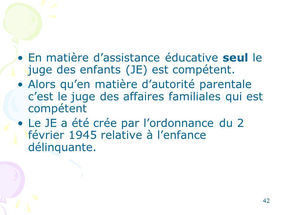 En matière d'assistance éducative seul le juge des enfants (JE) est compétent.
