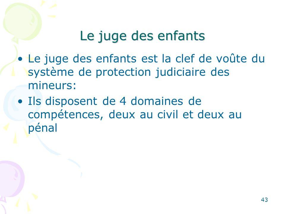 Le juge des enfants Le juge des enfants est la clef de voûte du système de protection judiciaire des mineurs: