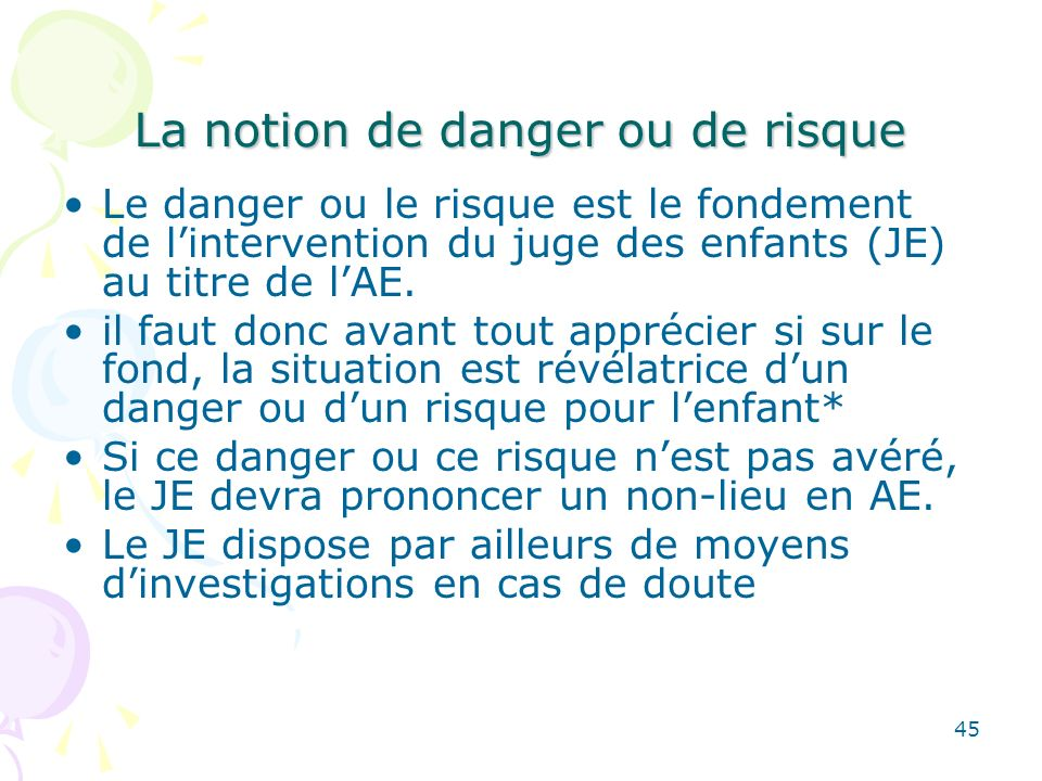 La notion de danger ou de risque