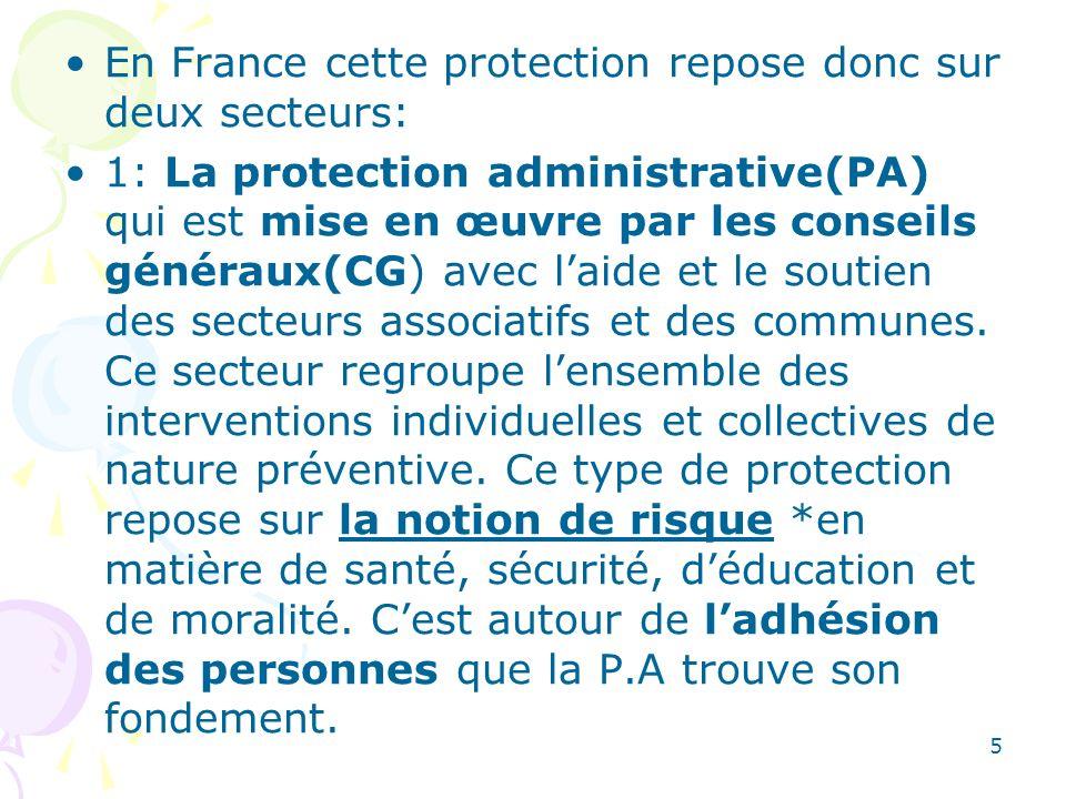 En France cette protection repose donc sur deux secteurs:
