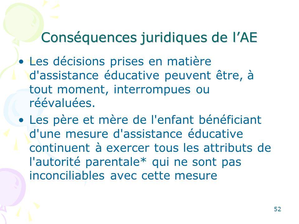Conséquences juridiques de l'AE