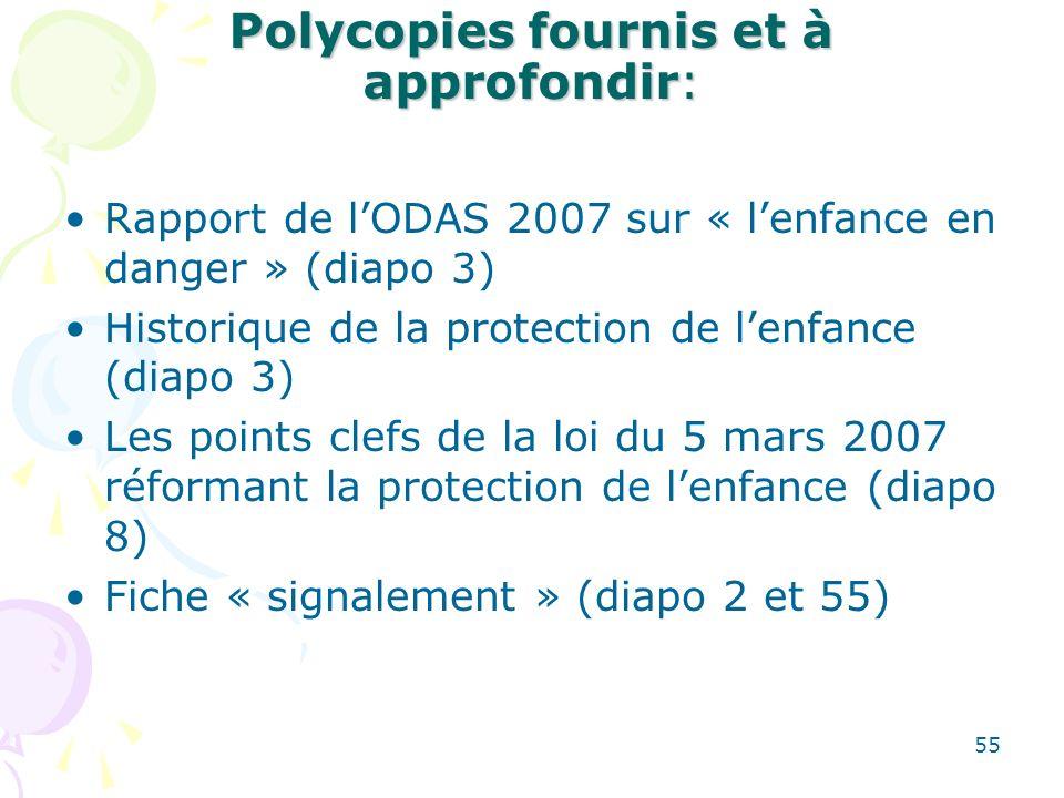 Polycopies fournis et à approfondir: