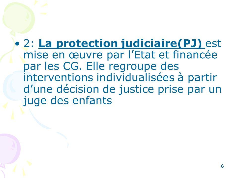 2: La protection judiciaire(PJ) est mise en œuvre par l'Etat et financée par les CG. Elle regroupe des interventions individualisées à partir d'une décision de justice prise par un juge des enfants