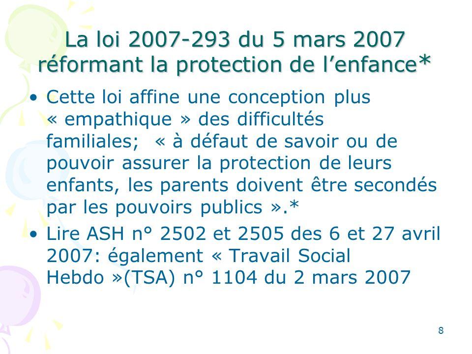La loi 2007-293 du 5 mars 2007 réformant la protection de l'enfance*