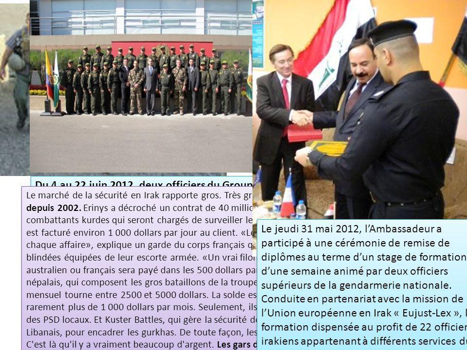 Du 4 au 22 juin 2012, deux officiers du Groupe d'Intervention de la Gendarmerie Nationale (GIGN) se sont rendus à Bogota pour délivrer une formation sur la protection rapprochée de hautes personnalités au profit de la Direction de la Protection et des services spéciaux (DIPRO) de la Police Nationale Colombienne.