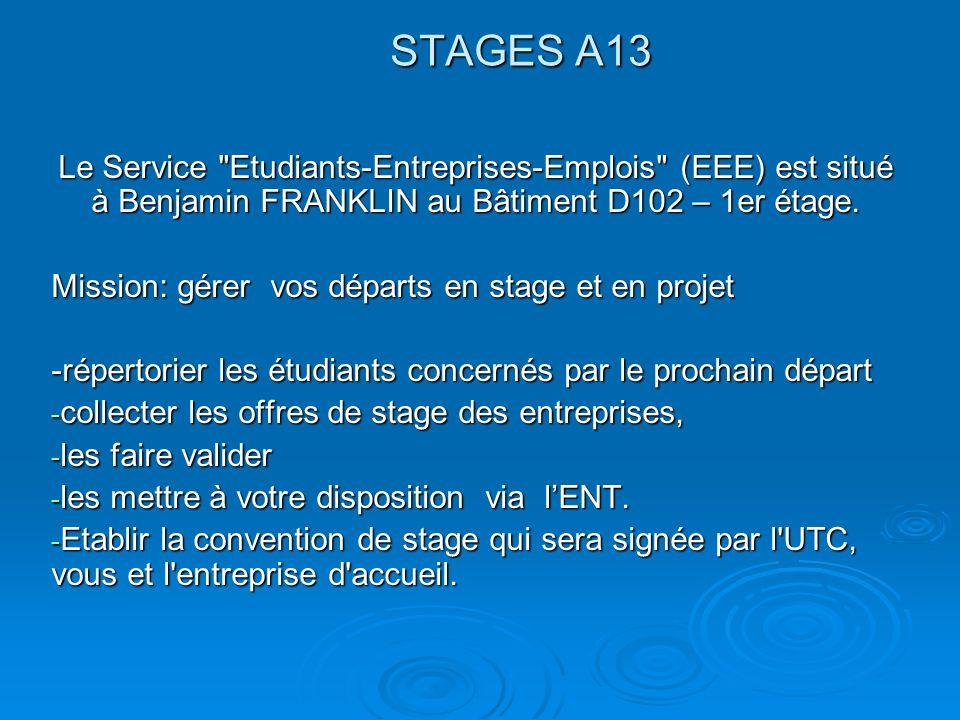 STAGES A13 Le Service Etudiants-Entreprises-Emplois (EEE) est situé à Benjamin FRANKLIN au Bâtiment D102 – 1er étage.