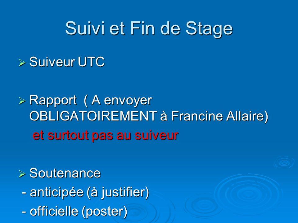 Suivi et Fin de Stage Suiveur UTC