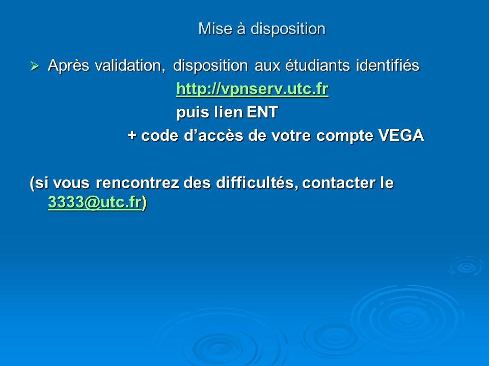 Mise à disposition Après validation, disposition aux étudiants identifiés. http://vpnserv.utc.fr. puis lien ENT.