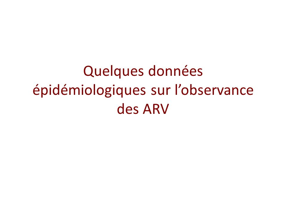 Quelques données épidémiologiques sur l'observance des ARV