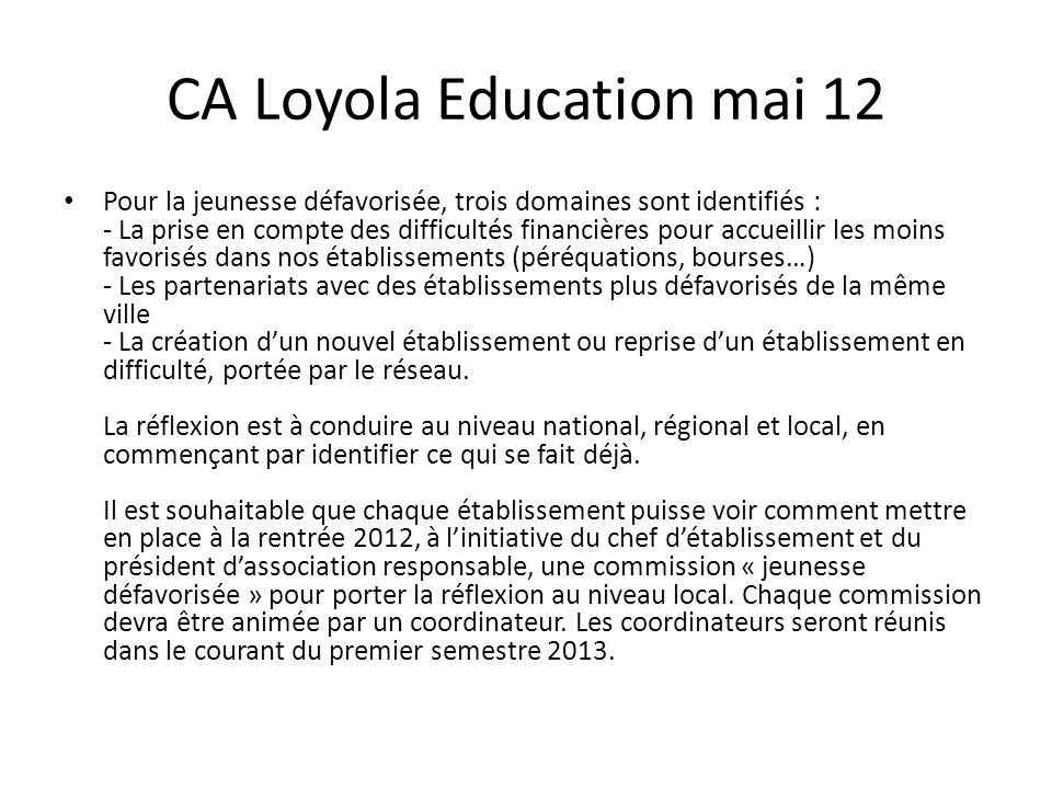 CA Loyola Education mai 12