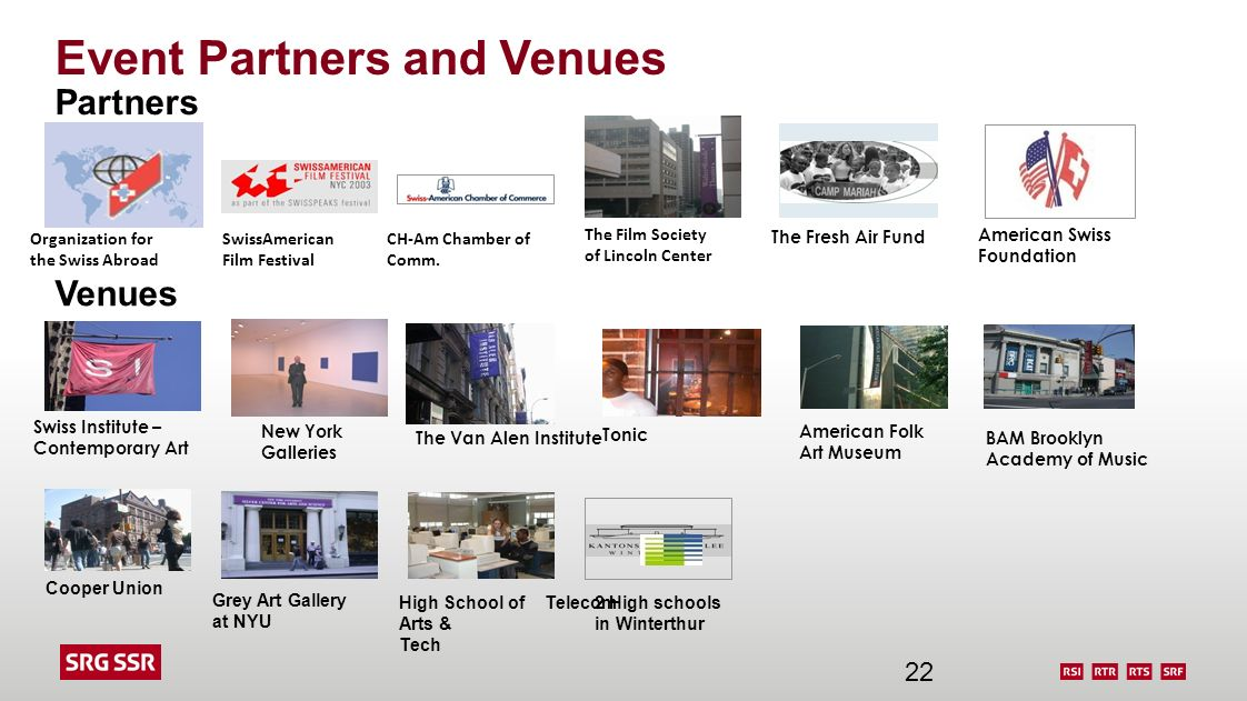 Event Partners and Venues