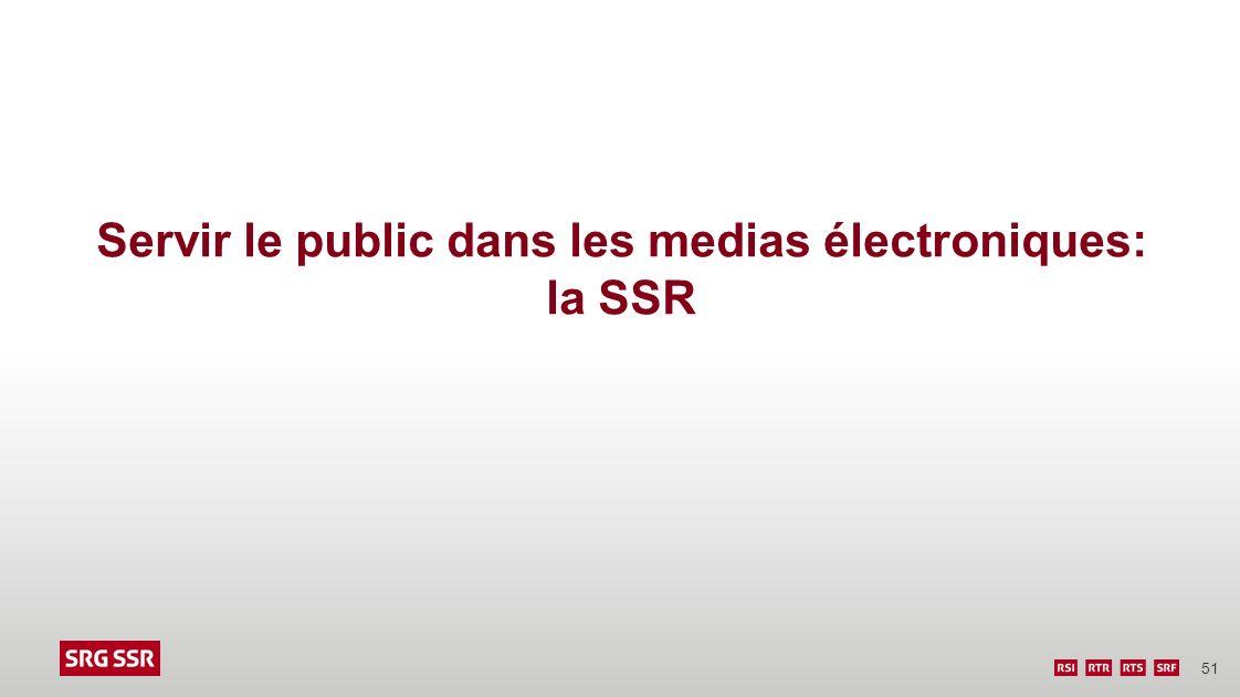 Servir le public dans les medias électroniques: la SSR
