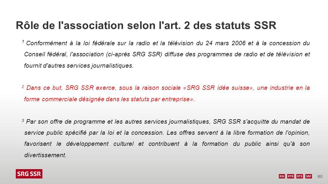 Rôle de l association selon l art. 2 des statuts SSR