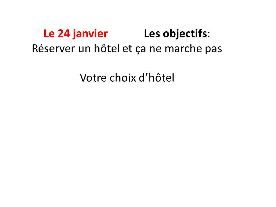 Le 24 janvier Les objectifs: Réserver un hôtel et ça ne marche pas Votre choix d'hôtel