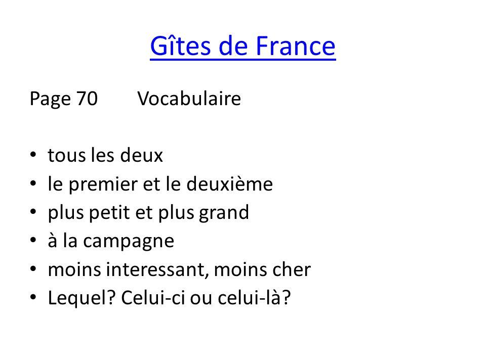 Gîtes de France Page 70 Vocabulaire tous les deux