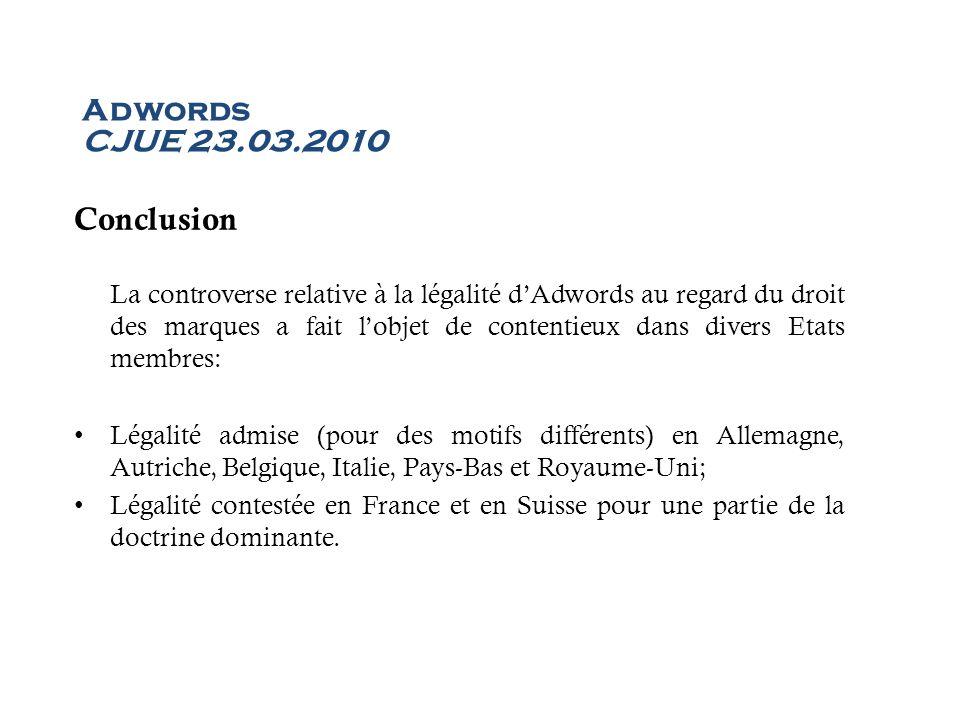 Adwords CJUE 23.03.2010 Conclusion.