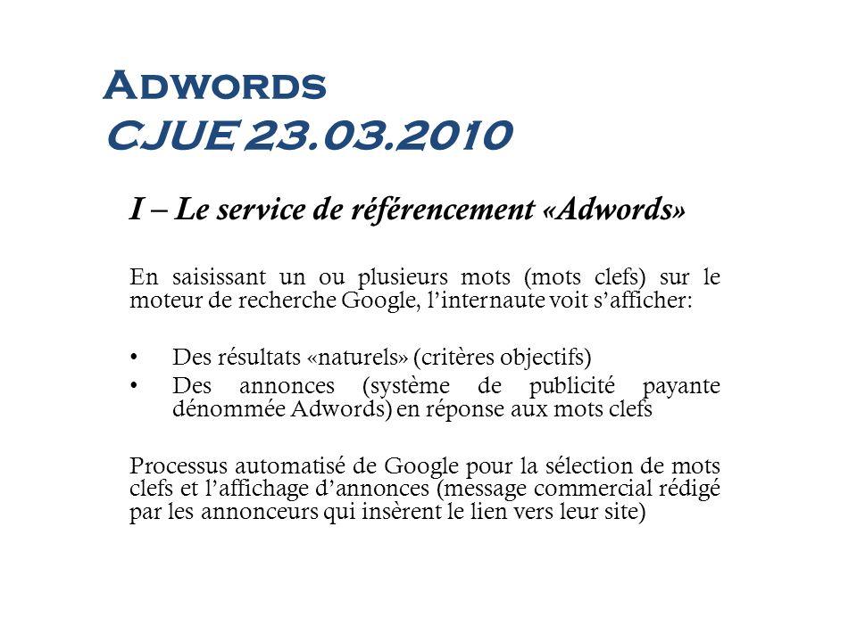 Adwords CJUE 23.03.2010 I – Le service de référencement «Adwords»