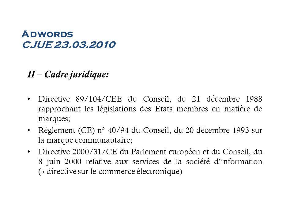 Adwords CJUE 23.03.2010 II – Cadre juridique: