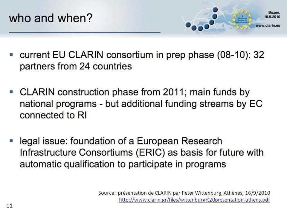 Source : présentation de CLARIN par Peter Wittenburg, Athènes, 16/9/2010