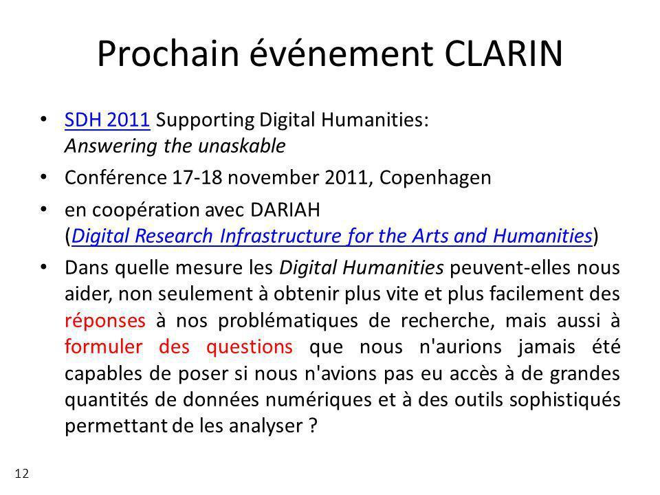 Prochain événement CLARIN