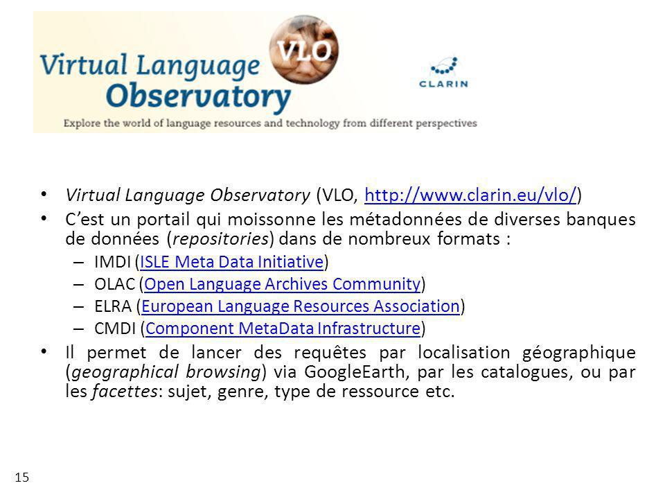 Virtual Language Observatory (VLO, http://www.clarin.eu/vlo/)
