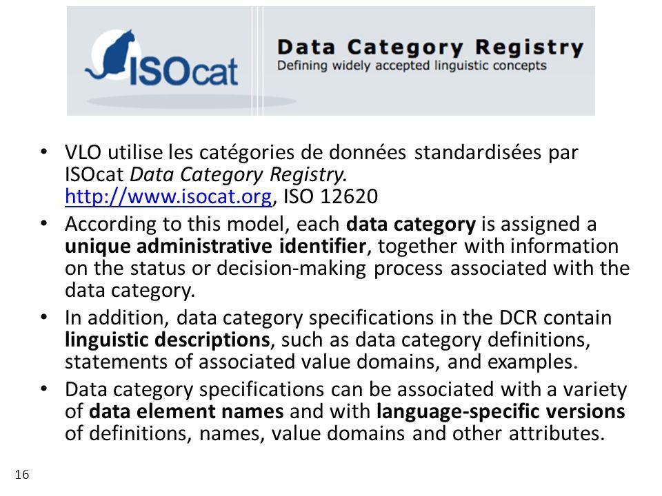 VLO utilise les catégories de données standardisées par ISOcat Data Category Registry. http://www.isocat.org, ISO 12620