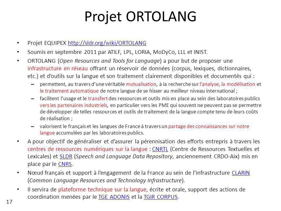Projet ORTOLANG Projet EQUIPEX http://sldr.org/wiki/ORTOLANG