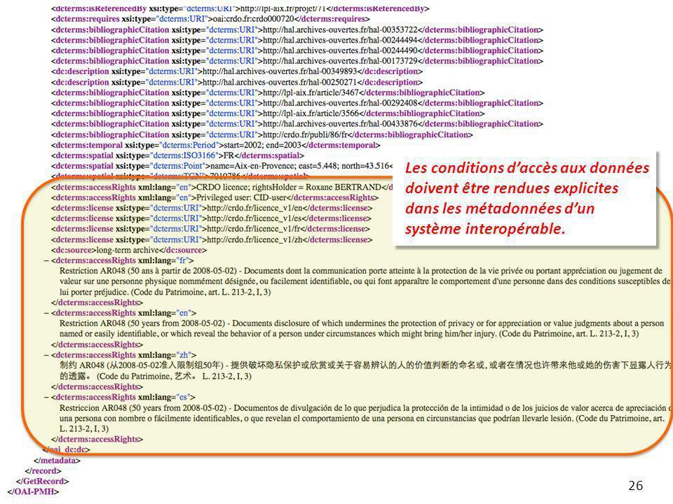 Les conditions d'accès aux données doivent être rendues explicites dans les métadonnées d'un système interopérable.
