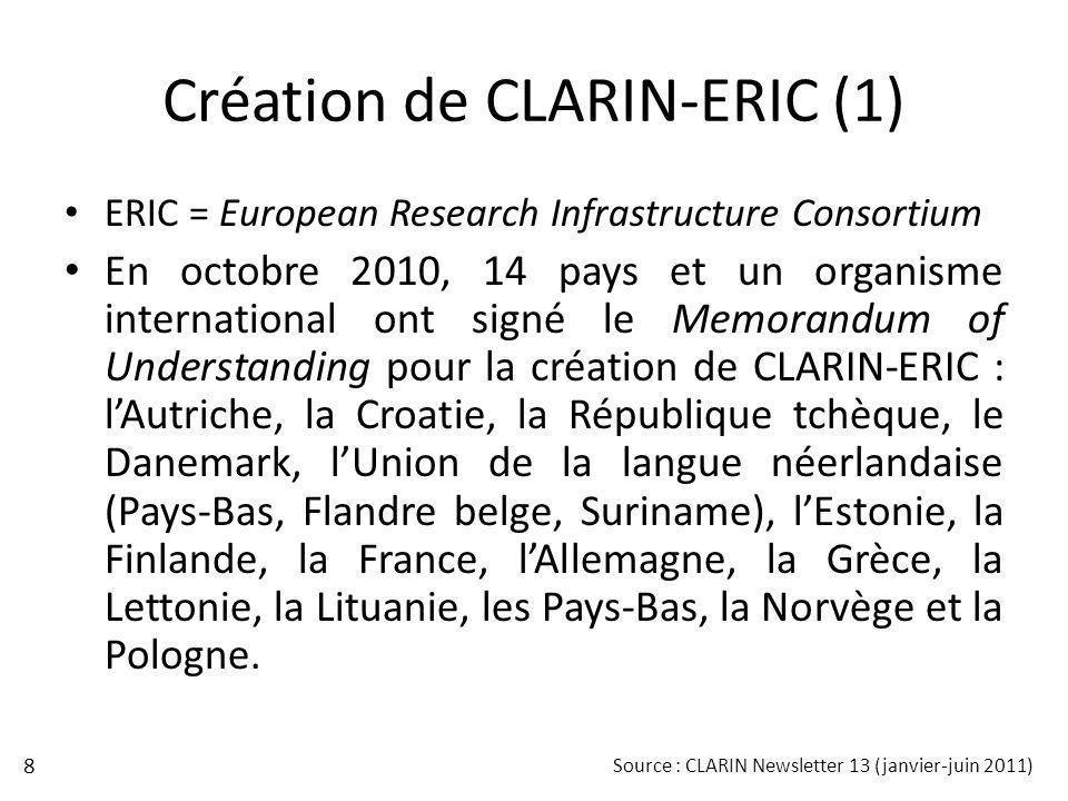 Création de CLARIN-ERIC (1)
