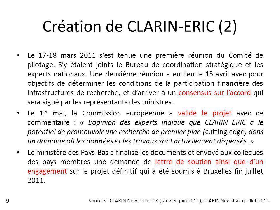 Création de CLARIN-ERIC (2)