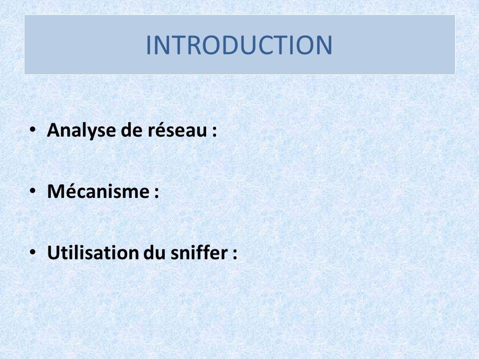 INTRODUCTION Analyse de réseau : Mécanisme : Utilisation du sniffer :