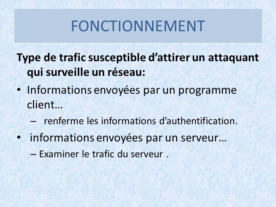 FONCTIONNEMENT Type de trafic susceptible d'attirer un attaquant qui surveille un réseau: Informations envoyées par un programme client…