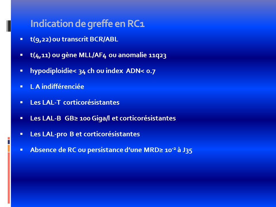 Indication de greffe en RC1