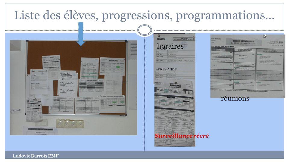 Liste des élèves, progressions, programmations…