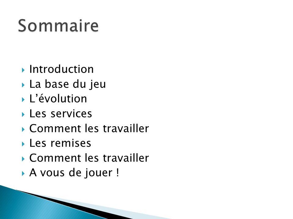 Sommaire Introduction La base du jeu L'évolution Les services