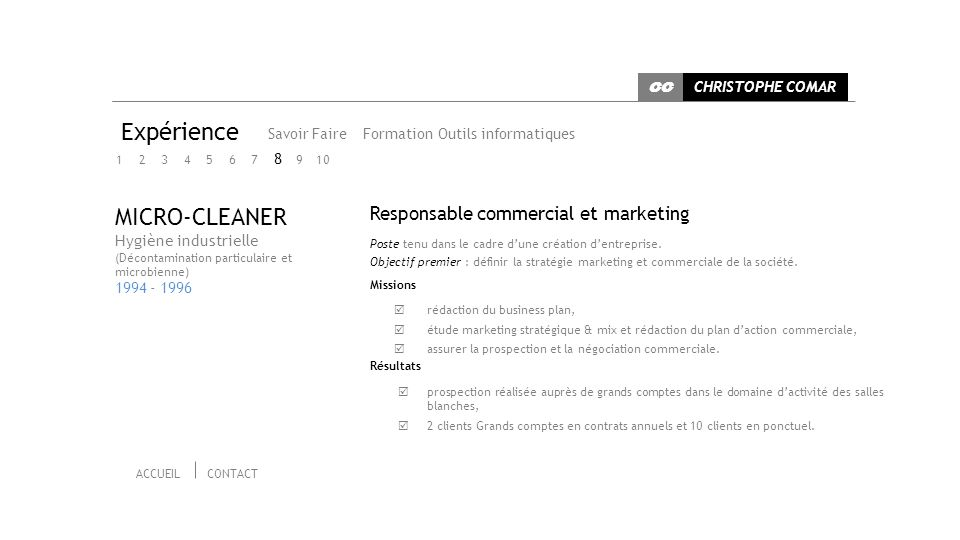 Expérience MICRO-CLEANER Responsable commercial et marketing 8