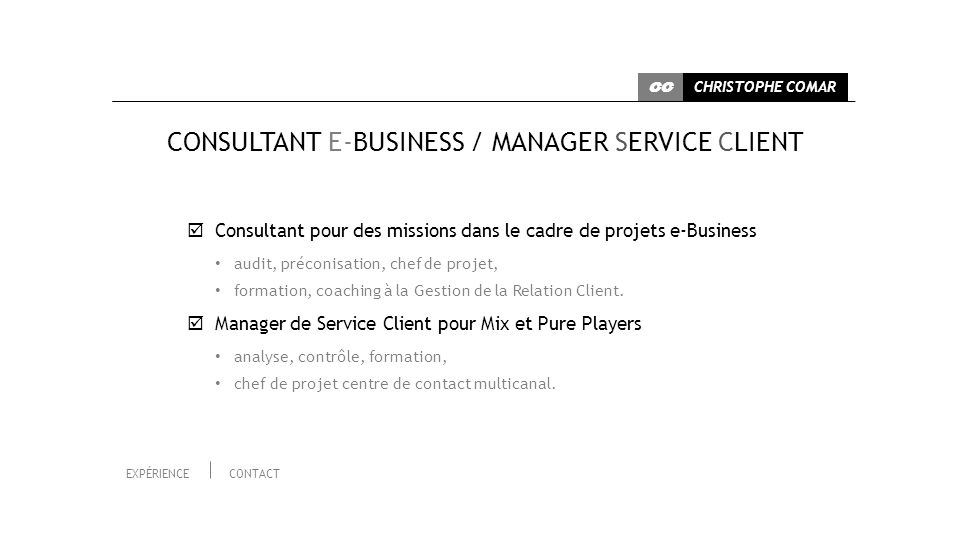 CONSULTANT E-BUSINESS / MANAGER SERVICE CLIENT