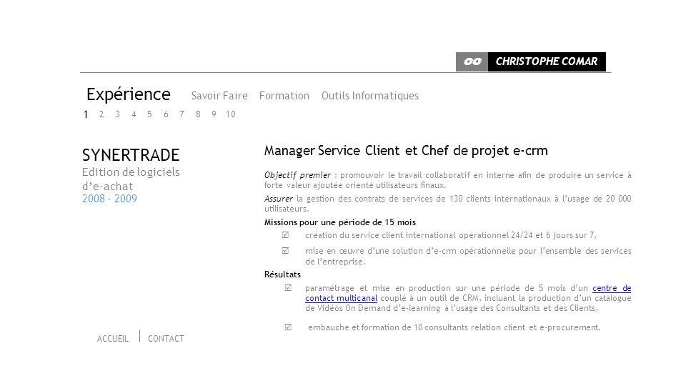 Expérience SYNERTRADE Manager Service Client et Chef de projet e-crm 1