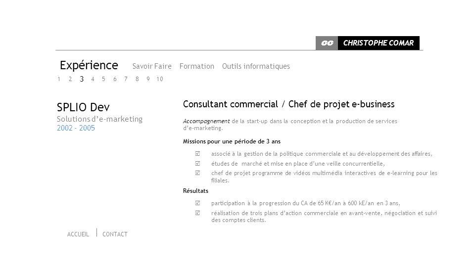 Expérience SPLIO Dev Consultant commercial / Chef de projet e-business