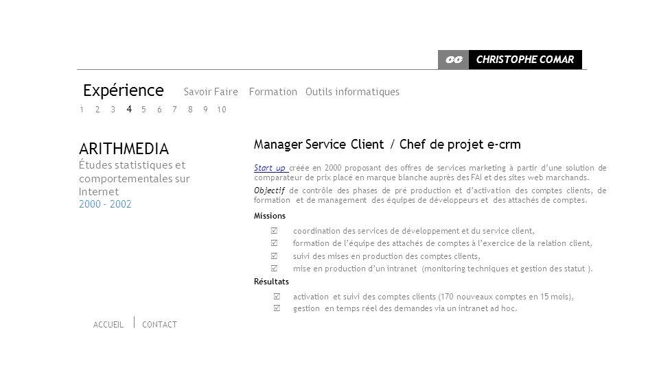 Expérience ARITHMEDIA Manager Service Client / Chef de projet e-crm 4