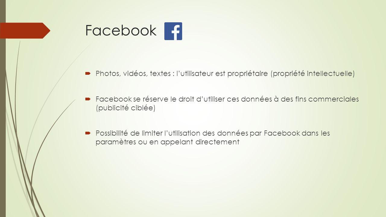 Facebook Photos, vidéos, textes : l'utilisateur est propriétaire (propriété intellectuelle)