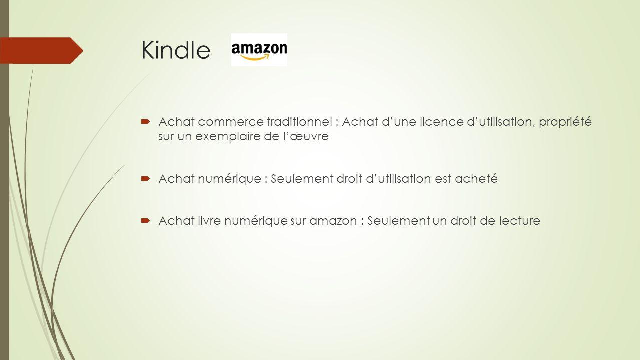 Kindle Achat commerce traditionnel : Achat d'une licence d'utilisation, propriété sur un exemplaire de l'œuvre.