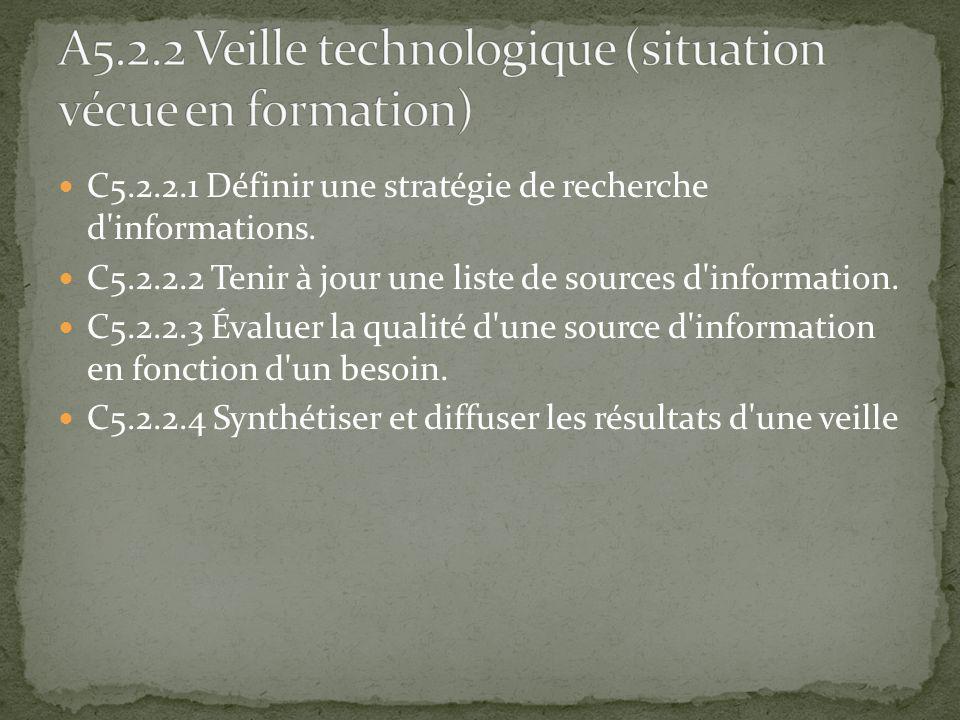 A5.2.2 Veille technologique (situation vécue en formation)