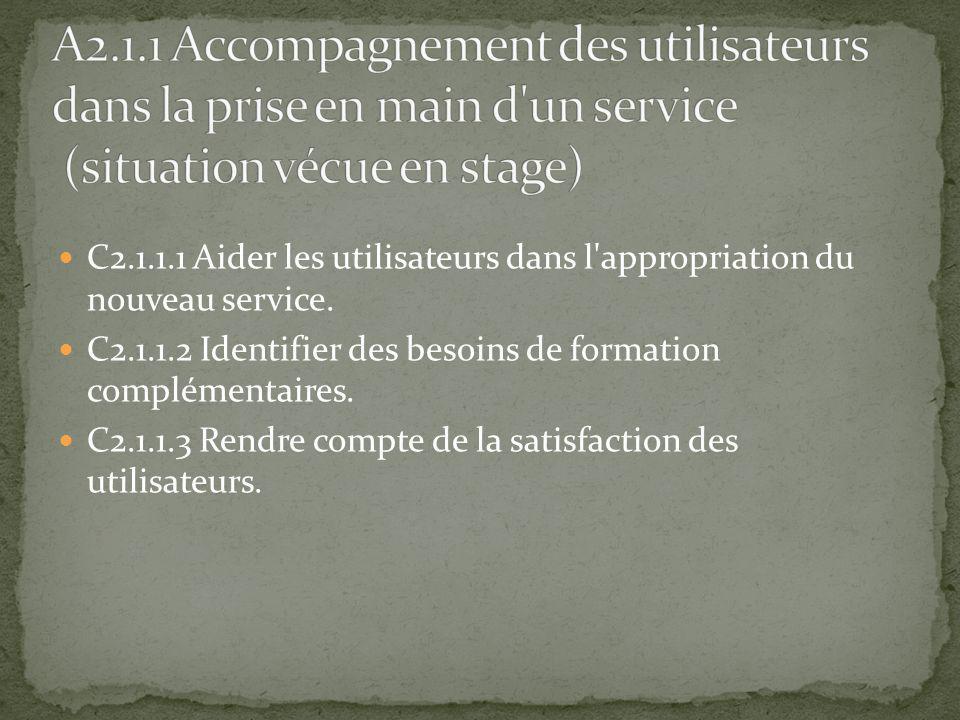 A2.1.1 Accompagnement des utilisateurs dans la prise en main d un service (situation vécue en stage)