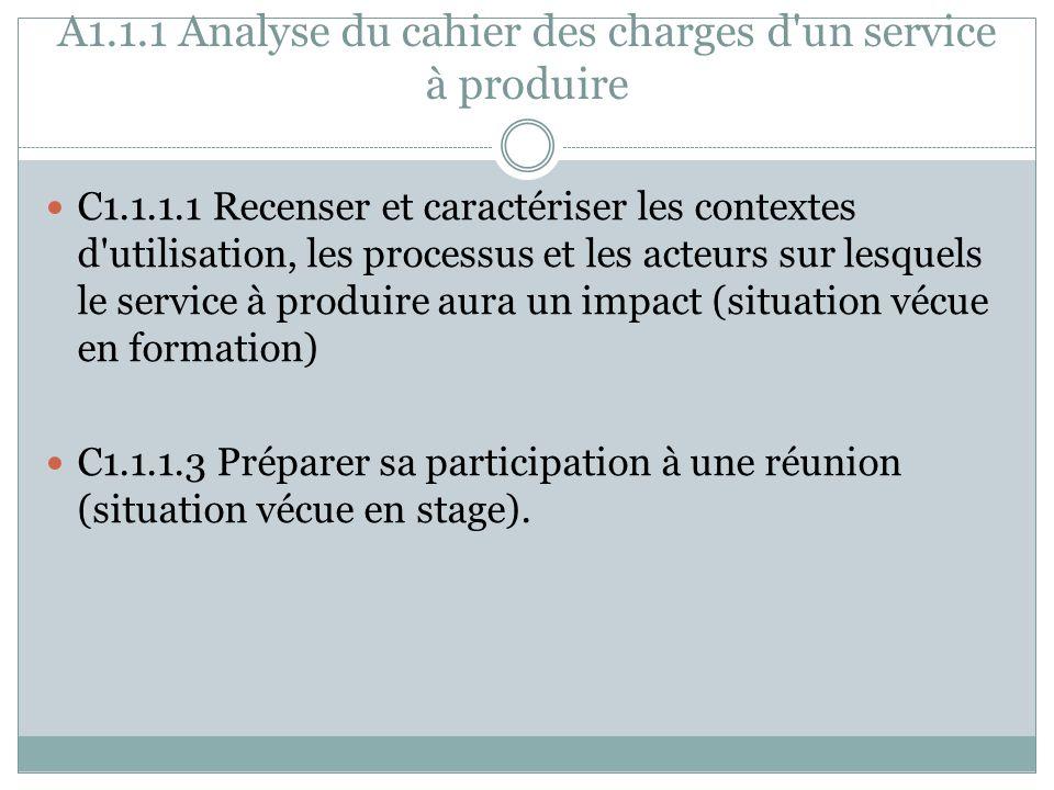 A1.1.1 Analyse du cahier des charges d un service à produire