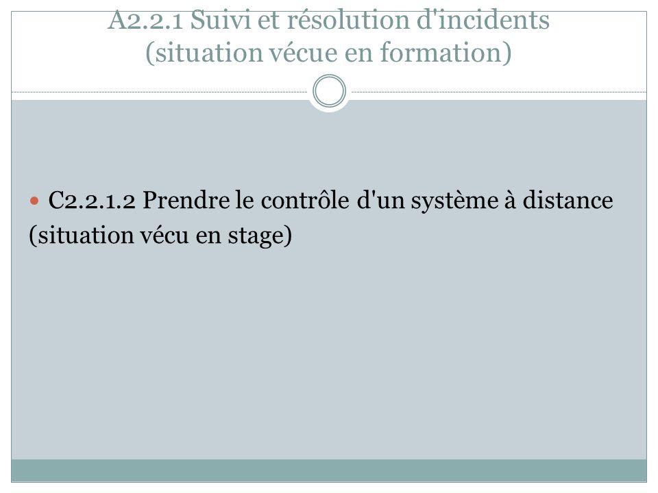 A2.2.1 Suivi et résolution d incidents (situation vécue en formation)
