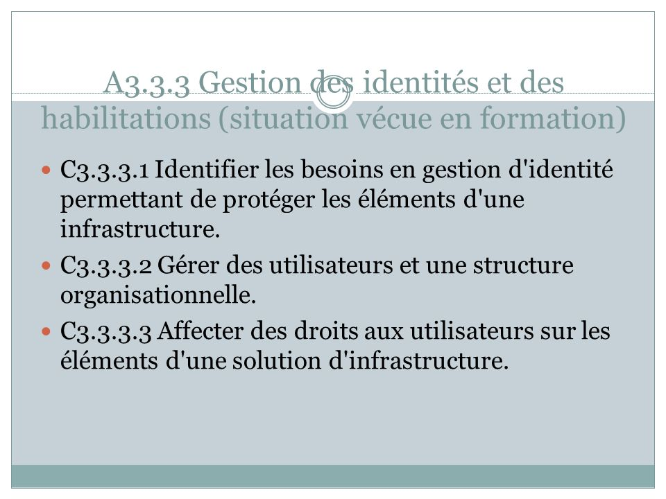 A3.3.3 Gestion des identités et des habilitations (situation vécue en formation)