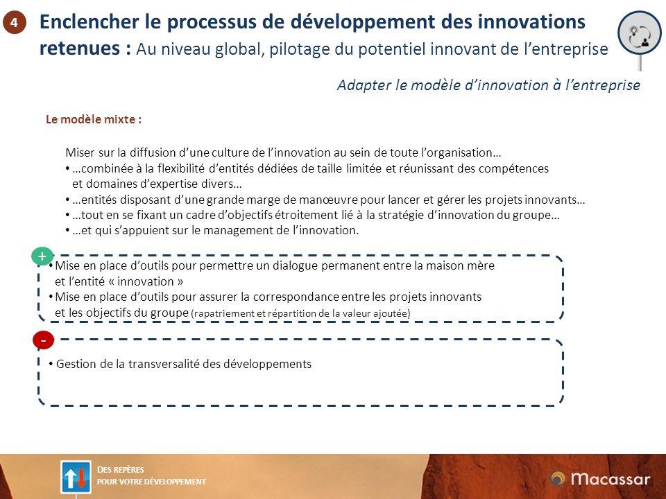 Enclencher le processus de développement des innovations retenues : Au niveau global, pilotage du potentiel innovant de l'entreprise